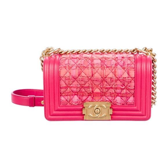 CHANEL Handbags - Chanel small tweed pink boy bag